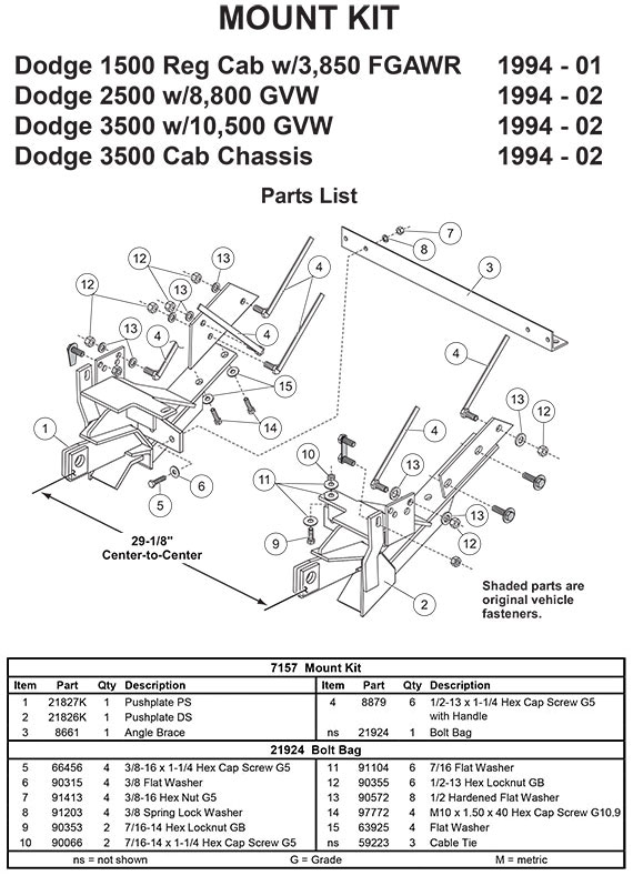 7157 FISHER MINUTE MOUNT 2 KIT MM DODGE 1500-3500