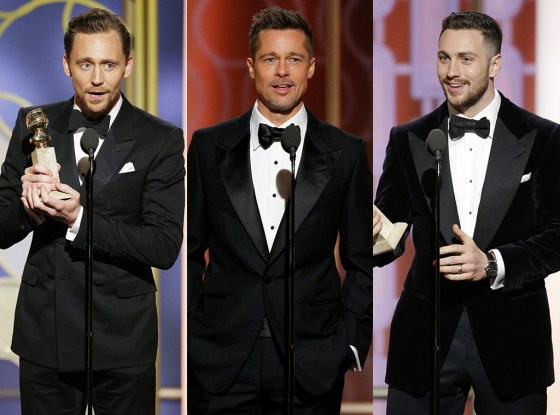 O Trio de Ouro do Golden Globe Tom Hiddleston, Brad Pitt e Aaron Taylor Jonson