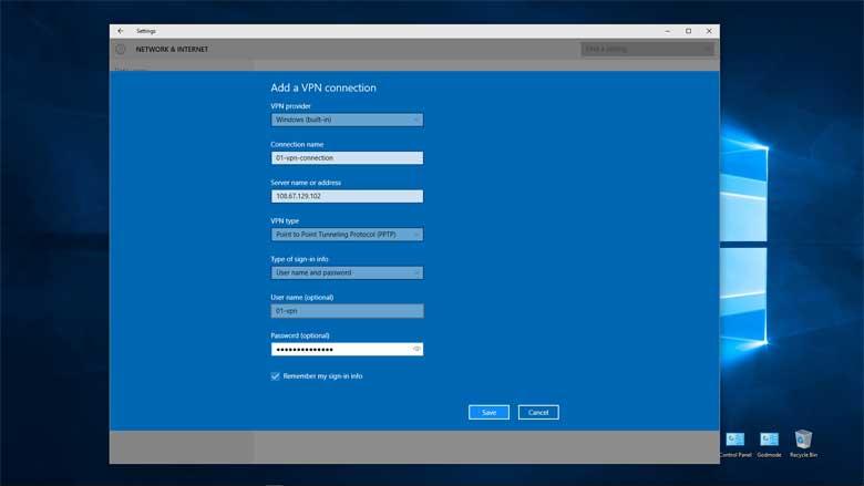 VPN Setup Service Windows 10 Built-in Secure PPTP VPN