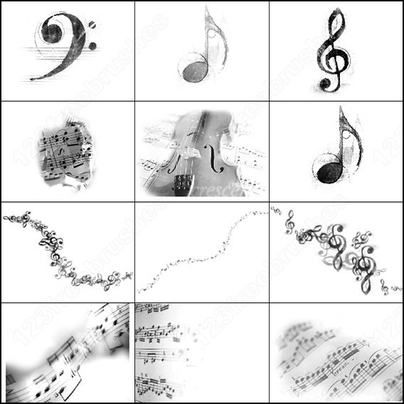 Photoshop Music brushes Download Free Vectors graphic design