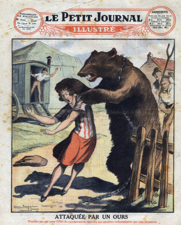 Young woman attacked by a bear in a gypsy encampment, in Germany. Frontpage of French newspaper Le Petit Journal Illustre, 1927. Private Collection.