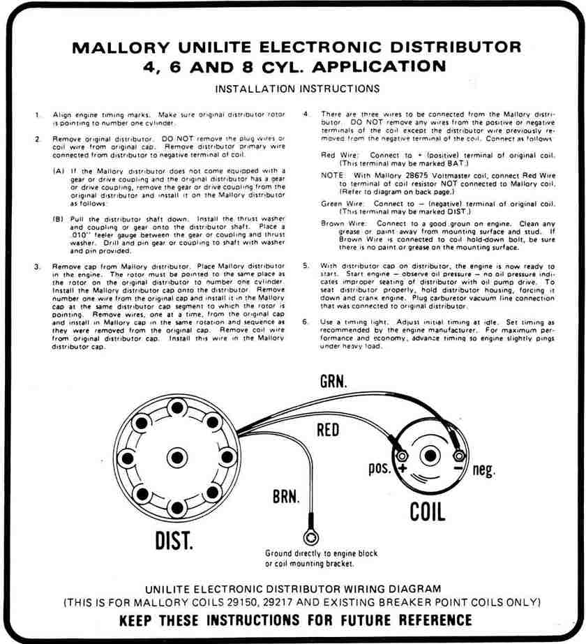 Mallory Distributor Wiring Ford 390 Wiring Diagram