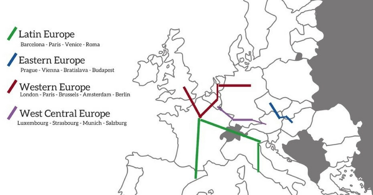 2 weeks in Europe Itinerary by Train - 4 detailed options (+ Tips)