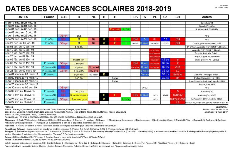 European School Holiday Calendar