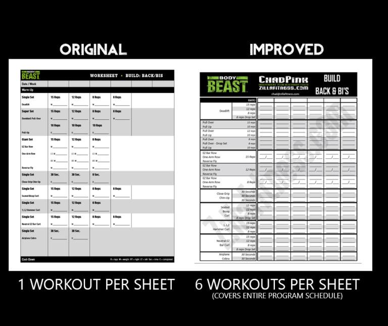Printable Body Beast Schedule - zillafitness - beast workout sheet