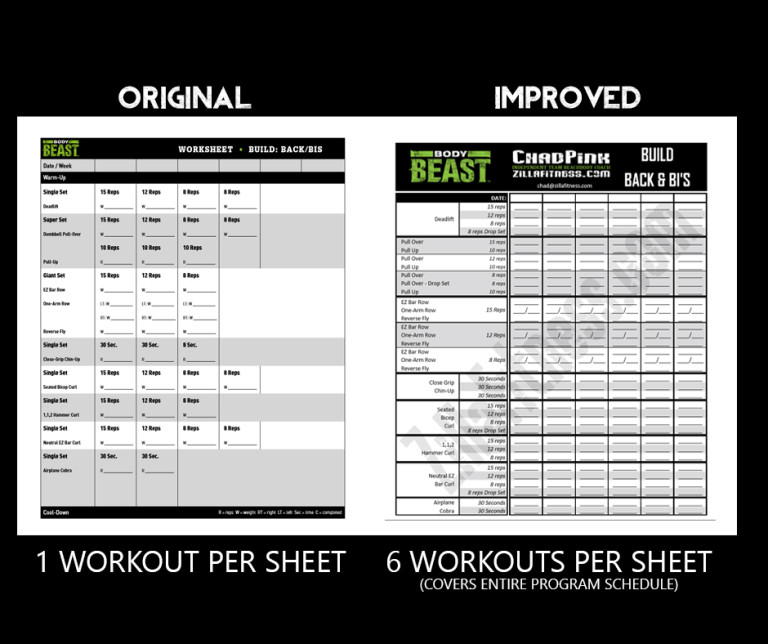 Free Improved Body Beast Workout Sheets by Chad Pink-ZillaFitness