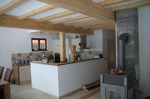 Offene Küche - holzbalken decke interieur modern
