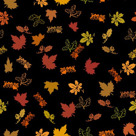 Fall Maple Leaf Tiled Wallpaper Autumn Leaves Black Background Seamless Background Image