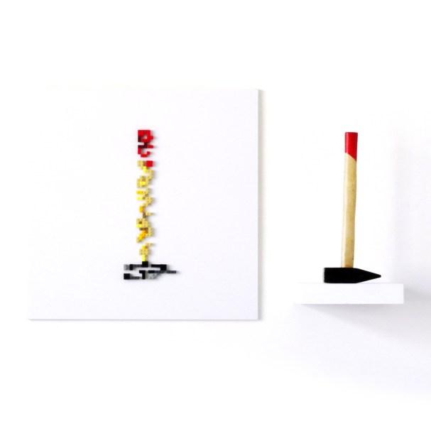 Erosione: My hammer, lego su pvc, 60x100cm
