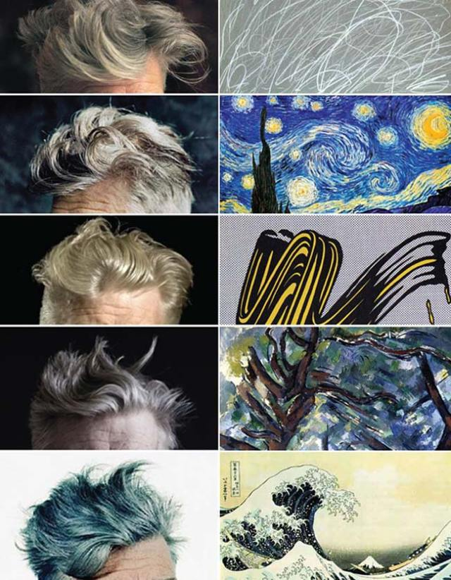 David Lynch's hair in paintings