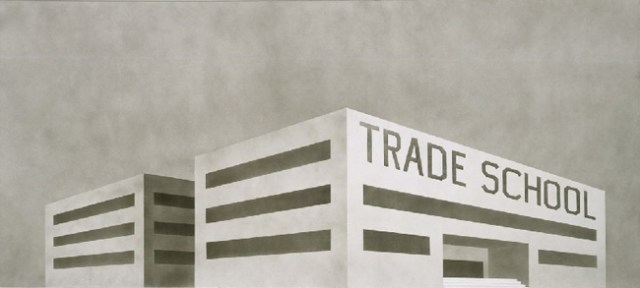 Ed Ruscha, Blue Collar Trade School, 1989, Acrylic on canvas, 54 H x 120 W (inches)