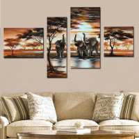 Elephant Wall Art Oil Painting Pictures African Landscapes