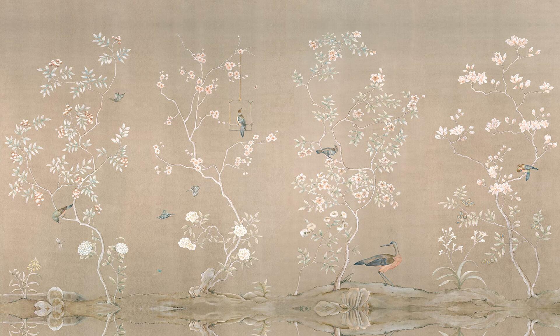 Cherry Blossom Wallpaper Hd Hand Painted Chinoiserie Wallpaper Zoe Design