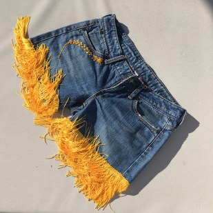 Yellow shorts (front detail) - still available