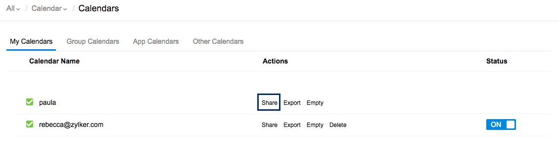 Share personal calendars with colleagues and groups in Zoho Calendar
