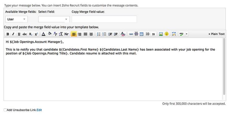 Emails inside Zoho Recruit
