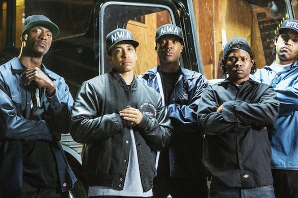 STRAIGHT OUTTA COMPTON, from left, Aldis Hodge, as MC Ren, Neil Brown Jr., as Dj Yella, Corey Hawkins, as Dr. Dre, Jason Mitchell, as Eazy-E, O'Shea Jackson Jr., as Ice Cube, 2015. ph: Jamie Trueblood/©Universal Pictures/courtesy Everett Collection