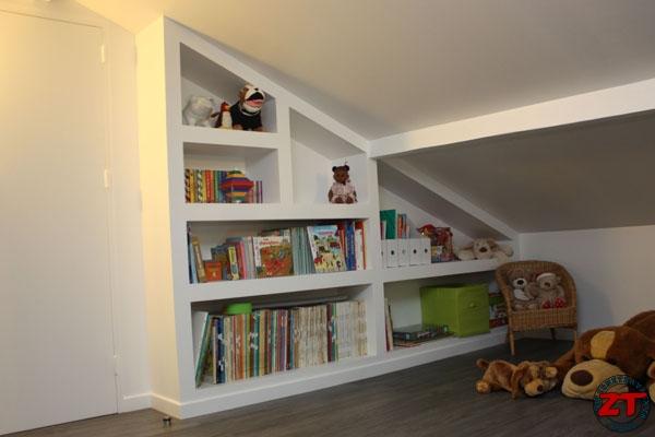 bibliothèque design sur mesure, bois chêne naturel Bibliothèque - fabriquer meuble en placo
