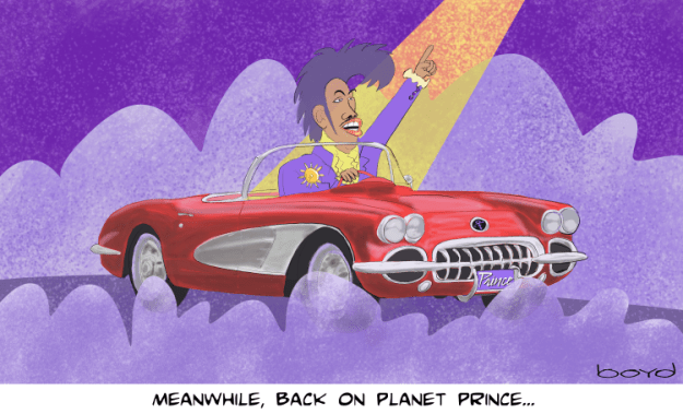 Prince rides in red corvette