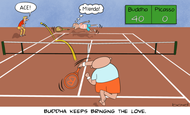 Buddha beats Picasso at tennis