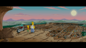Bart and Homer Simpson look over Springfield