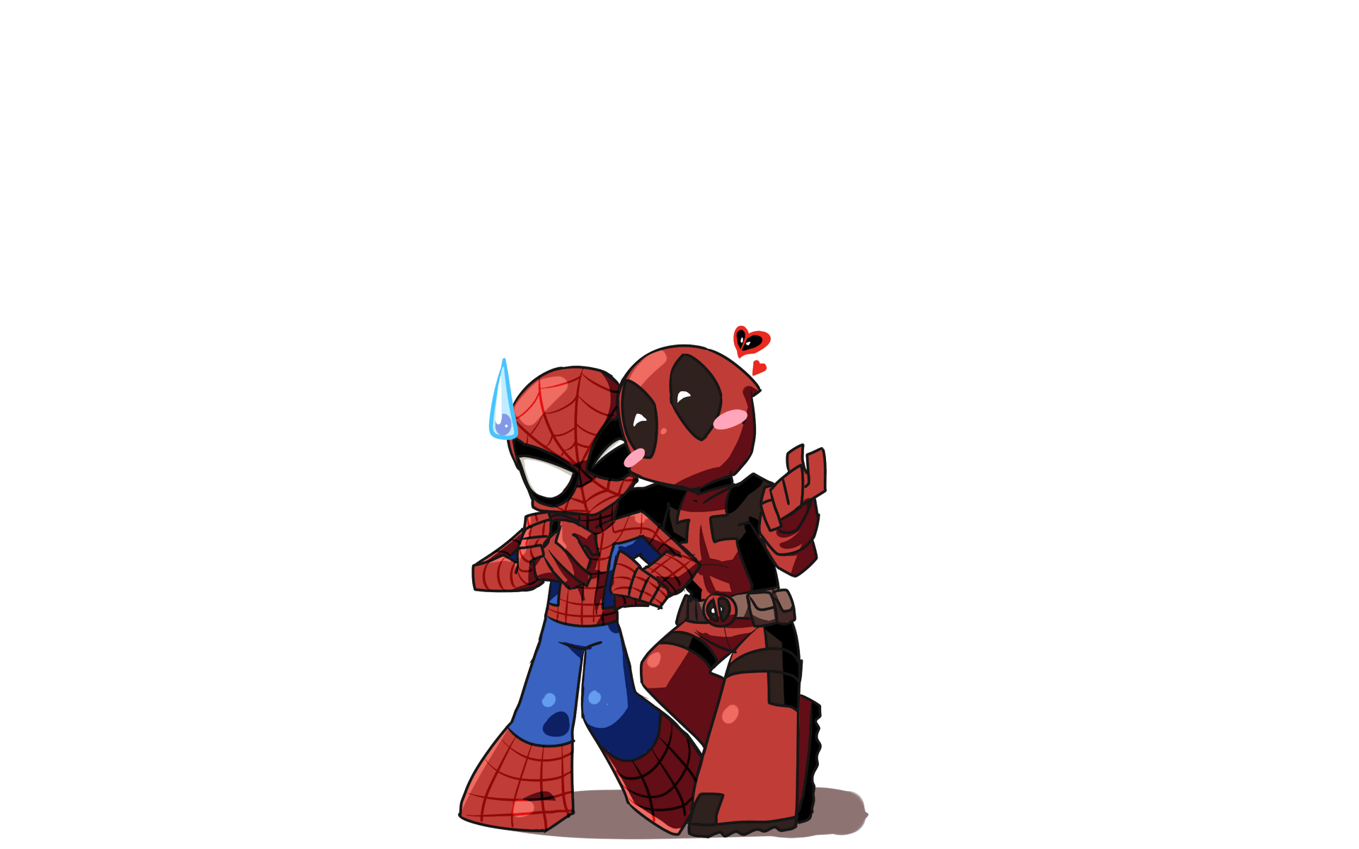 Iphone Wallpaper For Teenage Girl Chibi Spider Man And Deadpool Png