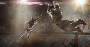 Thor jumping at Hulk