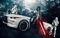 Vader and a sports car