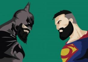 batman vs superman with beard wide