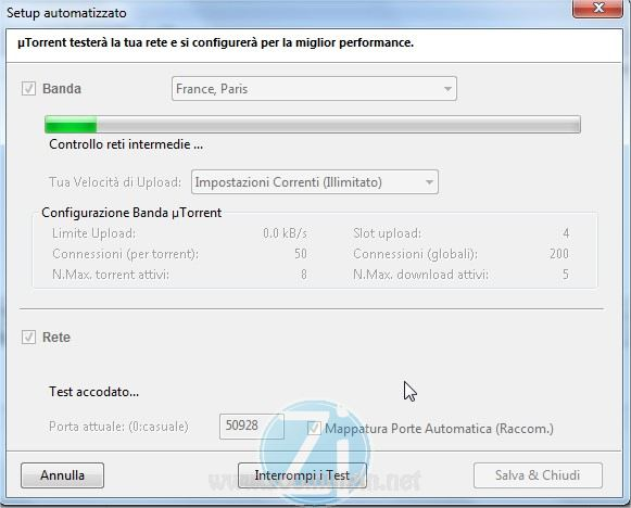test rete utorrent