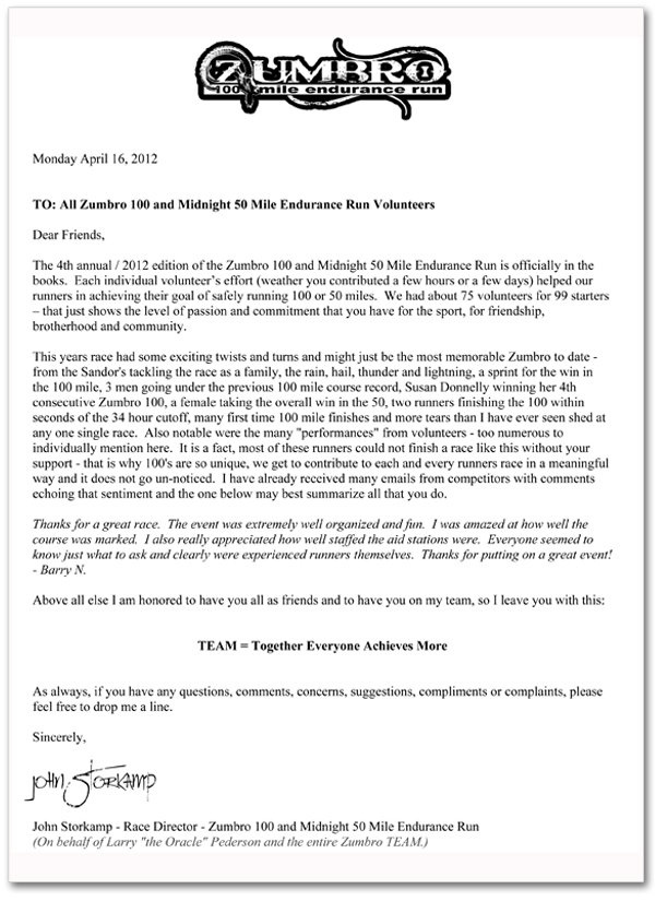 2012 Volunteer Thank You Letter Zumbro Endurance Run