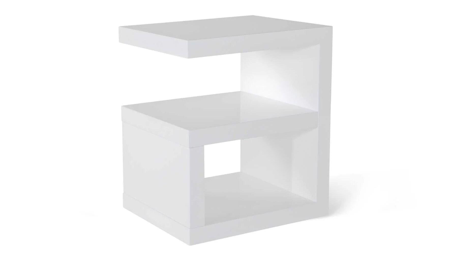 Jayden High Gloss Modern Side Table White Zuri Furniture