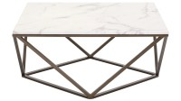 Klee Faux Marble Coffee Table, Stone & Antique Brass ...