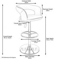 Cream Monza Adjustable Height Swivel Armless Bar Stool ...