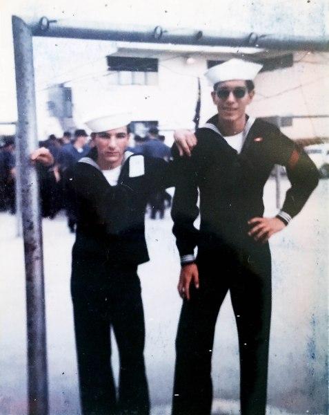 Reynaldo Garcia, Blaine Fergerstrom, boot camp graduates, 1972.