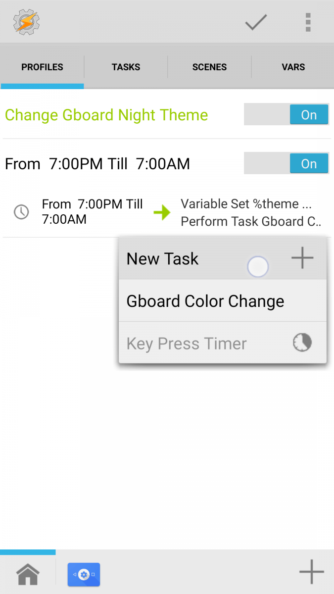 Tasker will now automatically change gboard s theme based on the time of day note that if you haven t yet ever granted tasker root access it will ask you