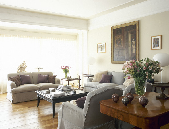 Beige-Gray Traditional Family Room - Living Room Design Ideas - Lonny - gray and beige living room