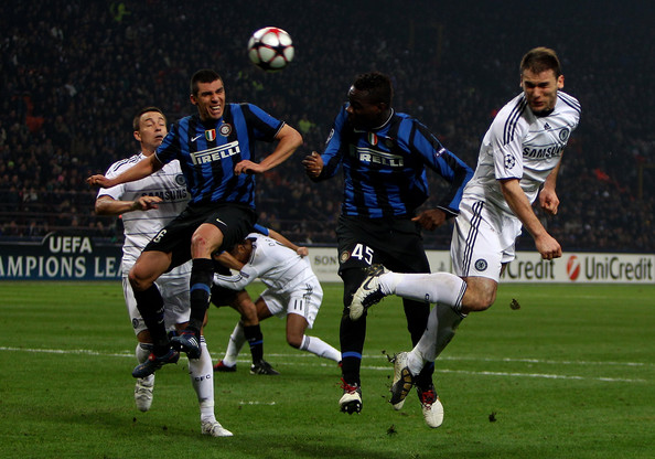 Branislav Ivanovic of Chelsea heads at goal during the UEFA Champions League Round of 16 first leg match between Inter Milan and Chelsea at the San Siro Stadium on February 24, 2010 in Milan, Italy.