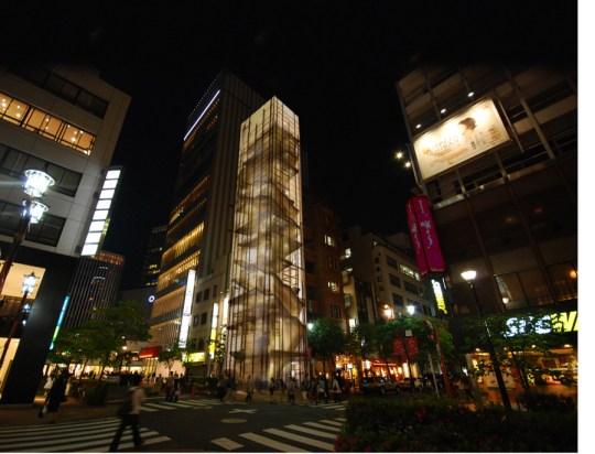 Ginza Natsuno Building at night