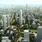 The SOM plan for Beijing's expanded Central Business District (CBD) calls for the establishment of three new districts anchored by signature parks and green boulevards.