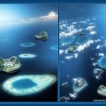 Aerial views of the Maldivian atolls