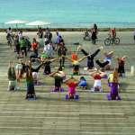 Yoga on the decks by Galia Kronfeld