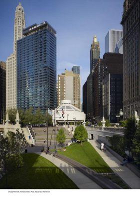 Chicago Riverwalk - Vietnam Veterans Memorial Wabash Plaza in Context - Photo by Kate Joyce Hedrich Blessing