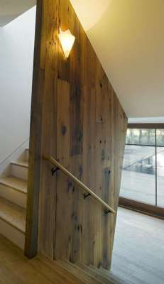 Interior at Stair Wall, Recycled Wood