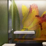 A orchid designed out of custom tiles provides a colorful backdrop (Images Courtesy Benny Chan)