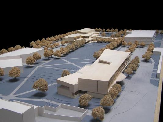 View of Study Model from west with School of Business in foreground