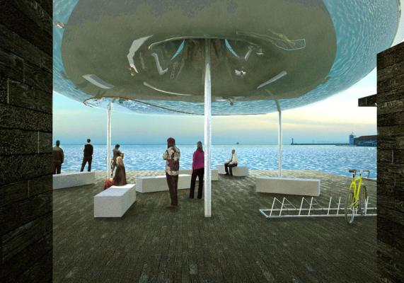 On the Pier, under the Inflated Pneumatic Structure. On the right of the image one can see the city harbor.