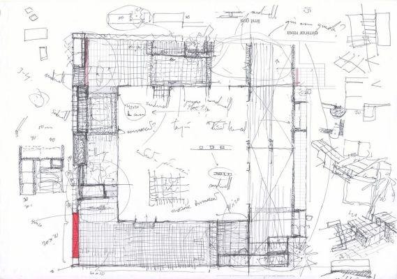 Courtyard pavement sketch
