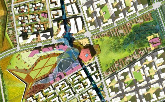 The core of the project is organized around a major transit link to downtown Beijing