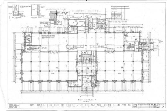 Johnston Hall Original 1936 First Floor Plan